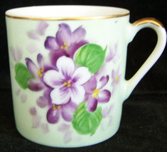 LEFTON HAND PAINTED VIOLETS CHINA DEMITASSE CUP Beautiful Vintage Delicate! - $5.00