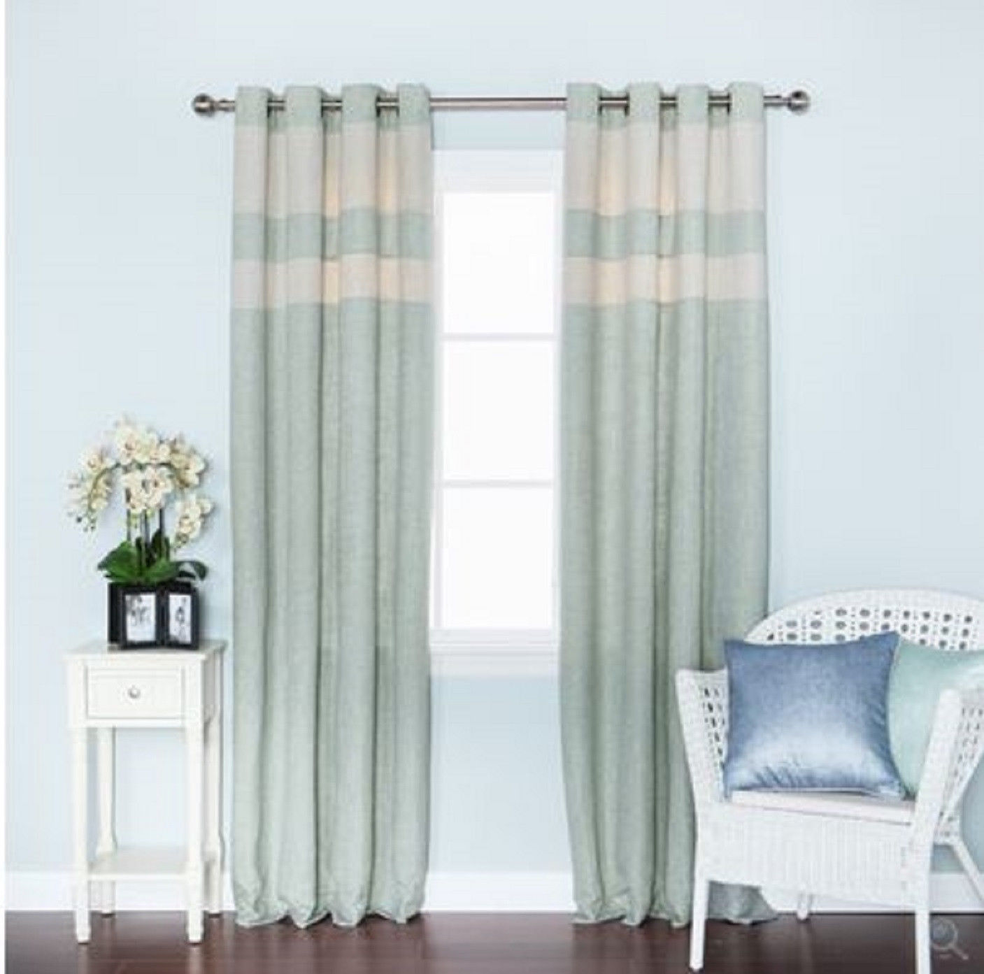 Contemporary faux linen treatment patio door grommet for Home drapes and curtains