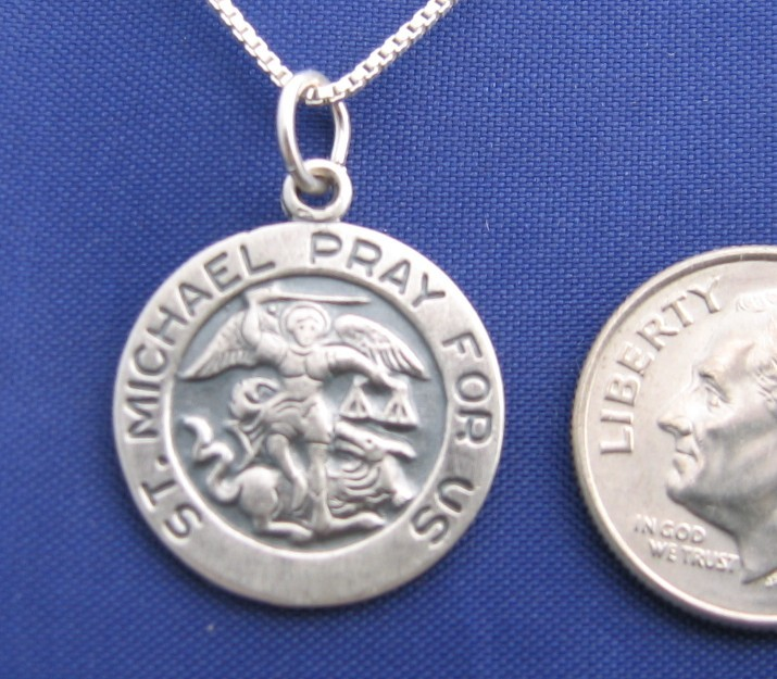 ST MICHAEL 24 Inch Necklace Pendant 925 Silver Military Saint N47