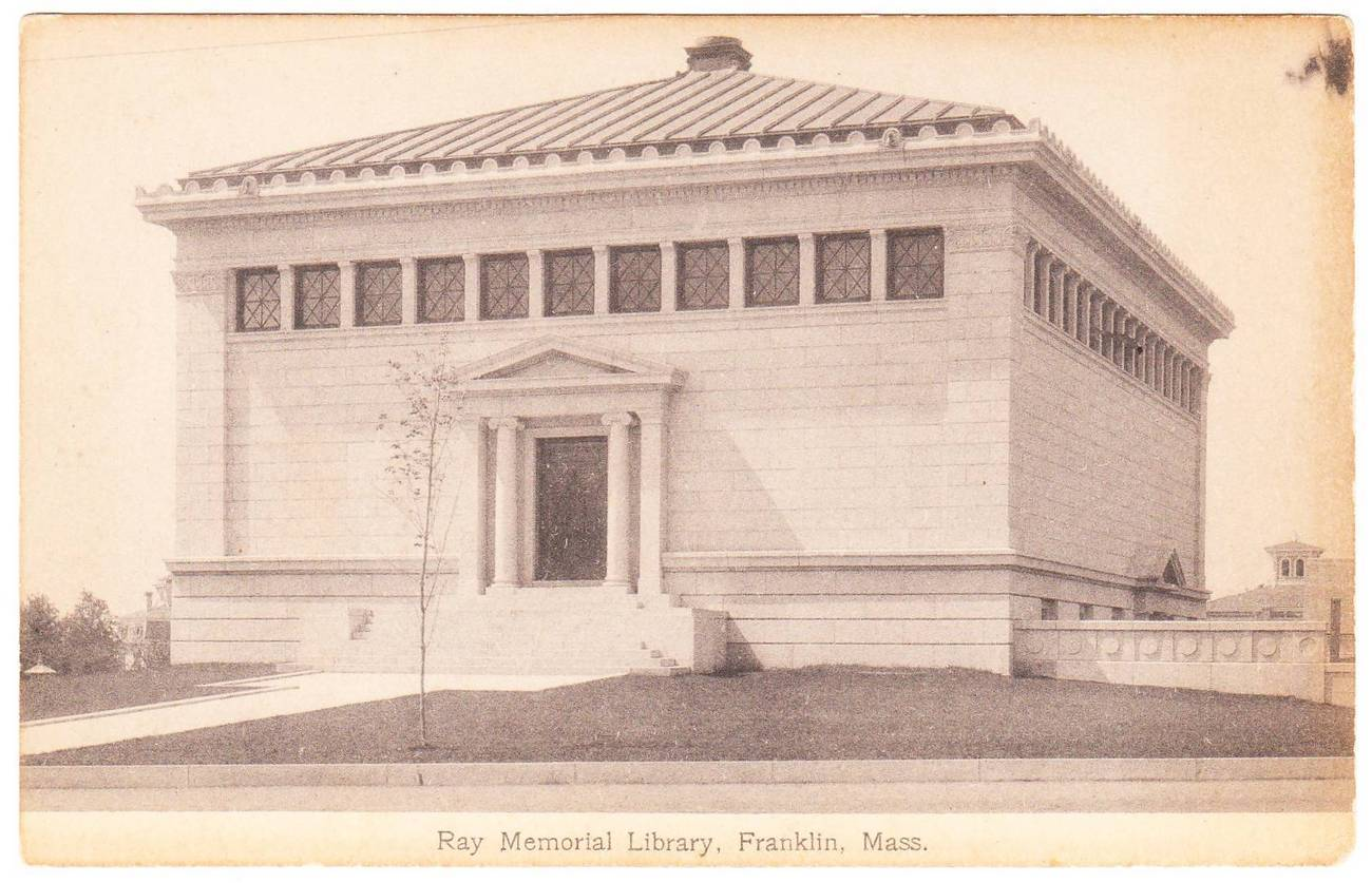 Old postcard ray memorial library franklin ma