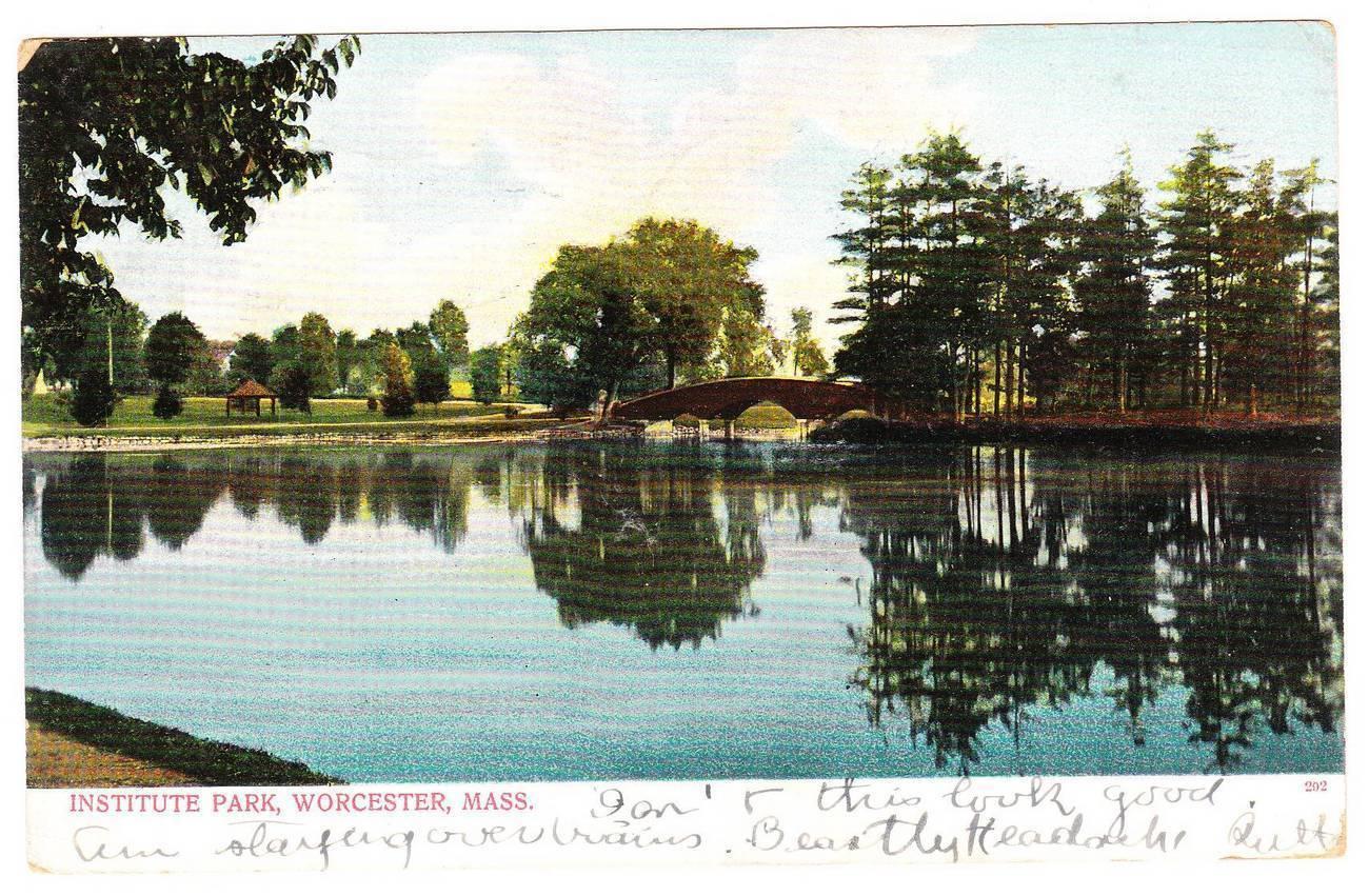 Old postcard institute park worcester ma