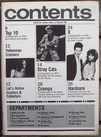Trouser Press TP 94 Stray Cats, X, Cramps