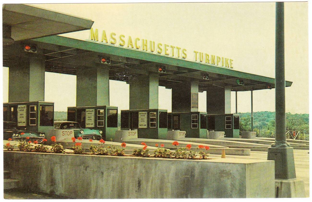 Vintage chrome postcard massachusetts turnpike ma