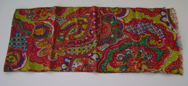 Scarf, Silk, Vintage Red & Green Paisley Design