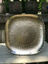 """1950's Aluminum SIGNS Of ZODIAC 13"""" SQUARE Tray ARTHUR ARMOUR Hammered Gold - $142.49"""