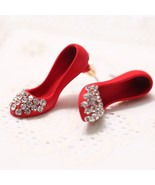 1Pair Crystal High Heel Shoes Earrings Personalized Shoes Ear Studs Black - $25.99