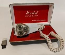 Vintage Norelco Tripleheader Rotary Electric Shaver Razor Trim Case 8130 60-70's - $29.69