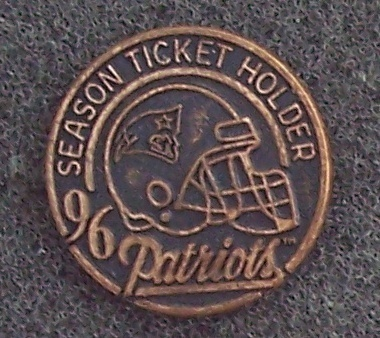 New England Patriots NFL 1996 Season Ticket Lapel Pin Collectible