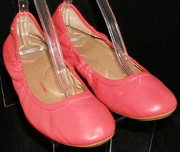 Calvin Klein 'Preila' red leather round toe scrunch slip on ballet flats... - $31.47