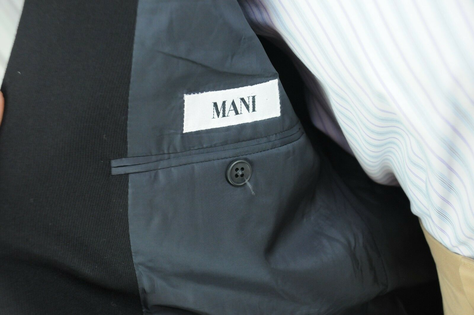 Giorgio Armani MANI Men's Solid Black Twill Wool Sport Coat Blazer 44L 44 L