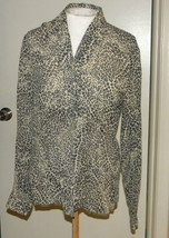 IMAGIO semi sheer animal print open front blouse knit top long sleeve S ... - $12.99