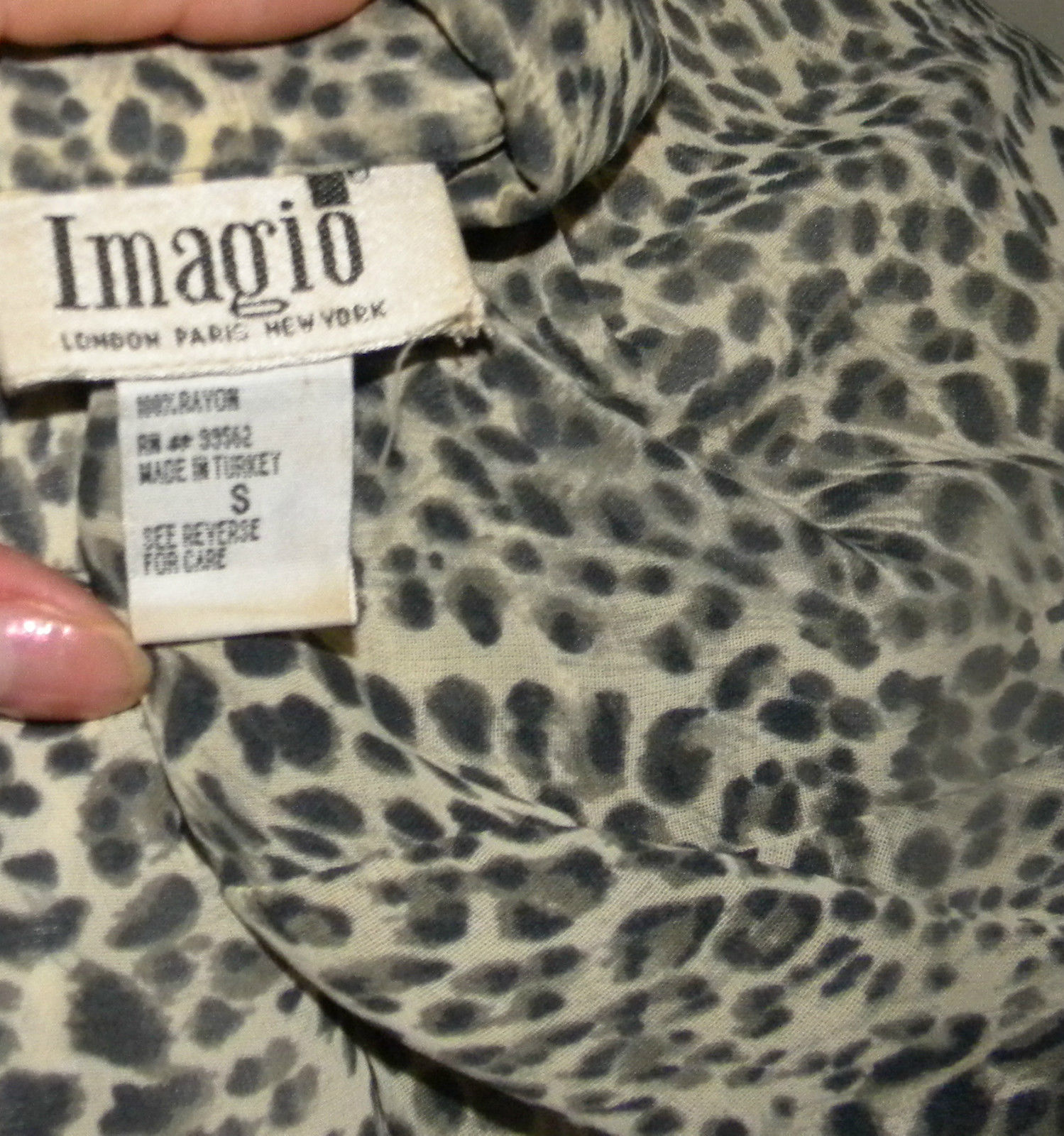 IMAGIO semi sheer animal print open front blouse knit top long sleeve S (6-8)