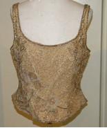 Vintage Lillie Rubin Sz 14 L hand Beaded Beige Gold Brocade Silk Bustier... - $59.99