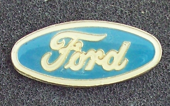 Ford Cars Blue Oval Blue and Cream Colored Lapel Pin Vintage