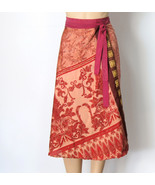 India Print Wrap Skirt Hippie Gypsy Skirt  - $21.00