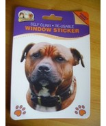 STAFFORDSHIRE BULL TERRIER RED DOUBLE SIDED WINDOW STICKER - $3.68