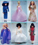 BARBIE FASHION DOLL JACKET, STOLE, HAT ++ UNCUT MCCALLS 2549  OOP SEWING... - $14.98