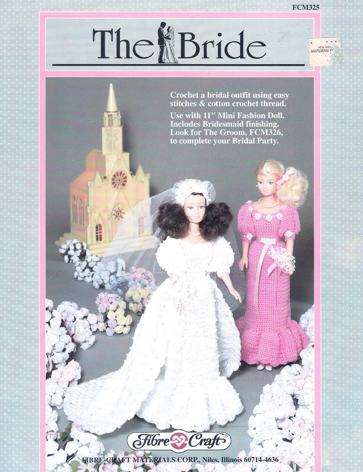 """THE BRIDE CROCHET W BEADS! 11.5"""" FASHION DOLL CLOTHES FIBRE CRAFT  PATTERNS OOP - $11.95"""