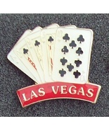 Las Vegas Royal Flush of Clubs  Pin Pinback - $8.00