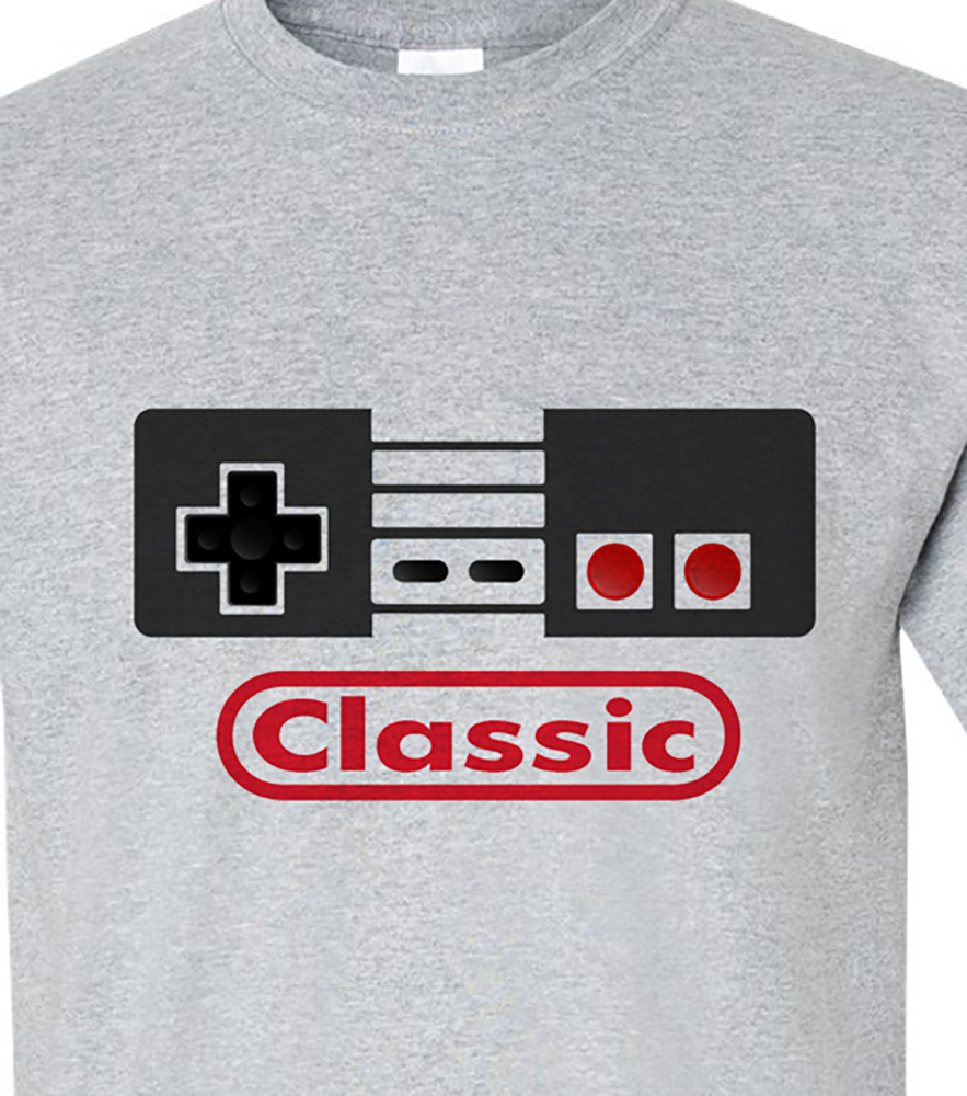 Nintendo Classic controller T-shirt retro 80's 70's old school video arcade  game