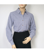 Navy Blue Checkered Blouse Long Sleeved Oxford Style Size Small - $16.00