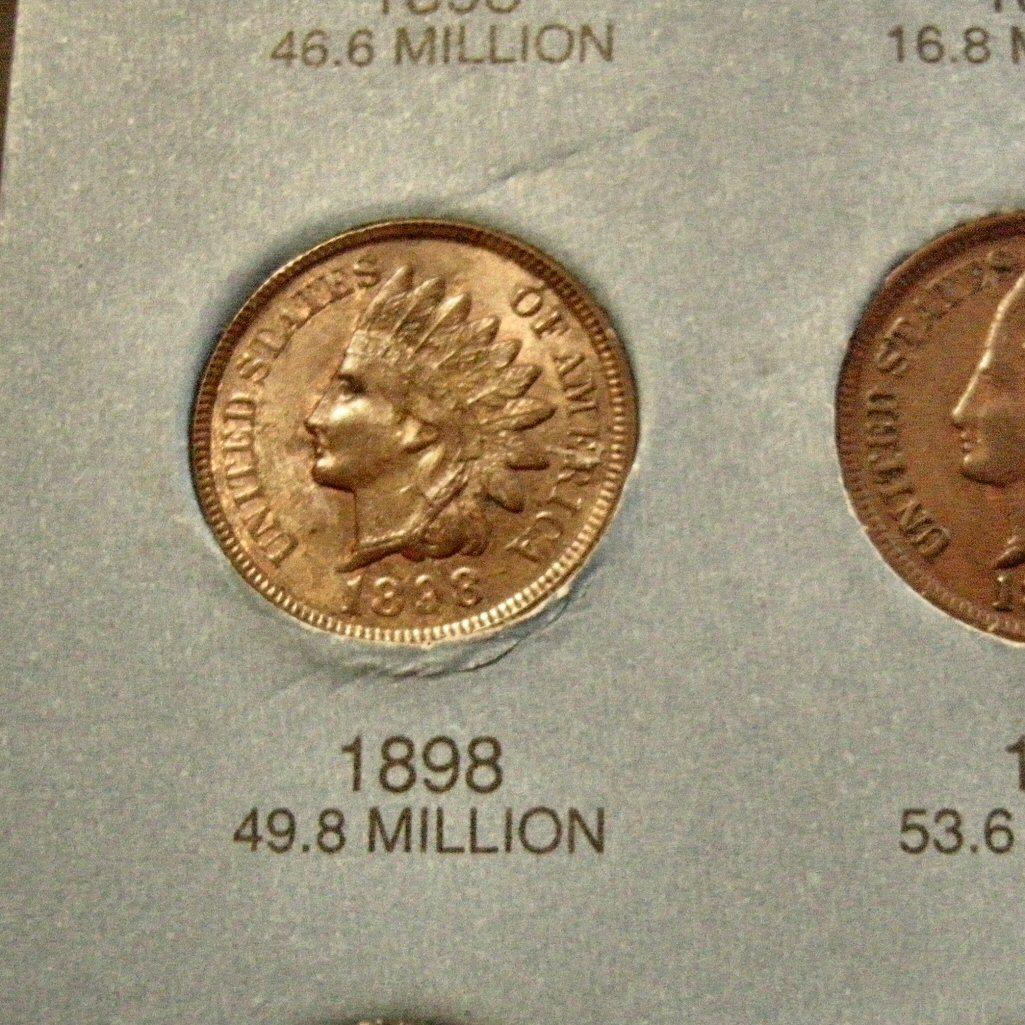 Whitman Folder 49 Indian Head Cents High Grade + 3 Flying Eagles