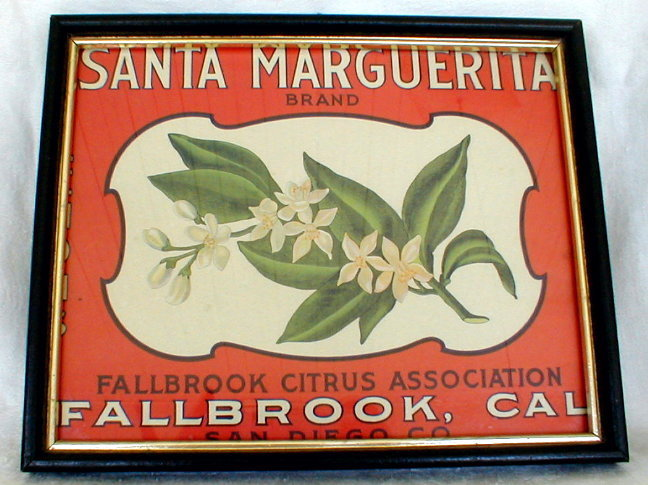 Vintage Framed Santa Marguerita Brand Produce Label