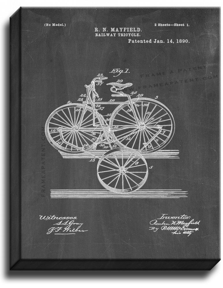 Primary image for Railway Tricycle Patent Print Chalkboard on Canvas