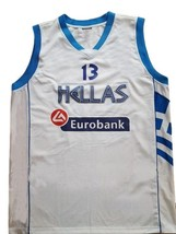Dimitris Diamantidis #13 Greece Custom Basketball Jersey New Sewn White Any Size image 3