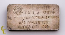 3 ML .999 + Barre Argent From The Al Malaikah Shrine Temple Wsa Convention 1970 image 1