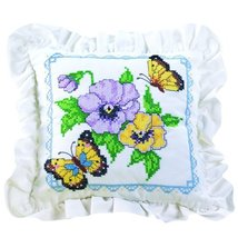 Bucilla 65524 Stamped Cross Stitch Kit Butterflies/Flowers Pillow - $18.19