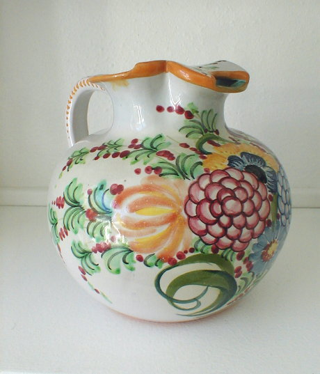 Large Hand Painted Florentine Pottery Pitcher