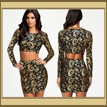 Long Sleeve Body Con Mini Skirt & Top Set Gold and Black Geo Print