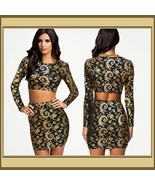Long Sleeve Body Con Mini Skirt & Top Set Gold and Black Geo Print - €47,38 EUR