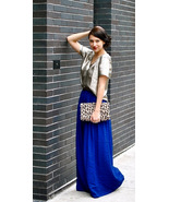Pretty Spring Summer Royal Blue Long Chiffon Sk... - $64.90