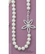 Sterling Silver 19 Inch Lacquered Mother of Pearl and CZ Daisy Necklace - $179.95