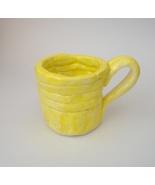 Folk Art Yellow Mini Cup Mug With Handle Art Pottery Signed - $24.00