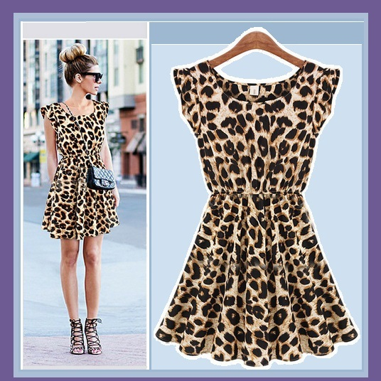 Soft Cotton Leopard Print Empire Waist Tank  Mini Sun Dress