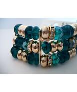 green beaded gold chain bracelet - $15.00