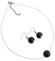 Gorgeous Pearl Necklace Earrings Black Pearl Elegance Jewelry - $8.83