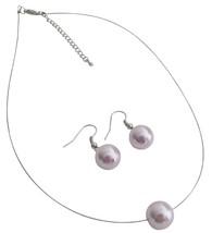 Mauve Single Pearl Necklcae Earrings Set Variety Jewelry - $8.83