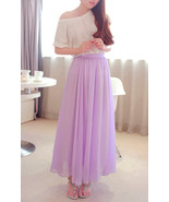 Lavender Chiffon Maxi Skirt. Spring Summer Long Skirt. Purple Skirt - $64.90