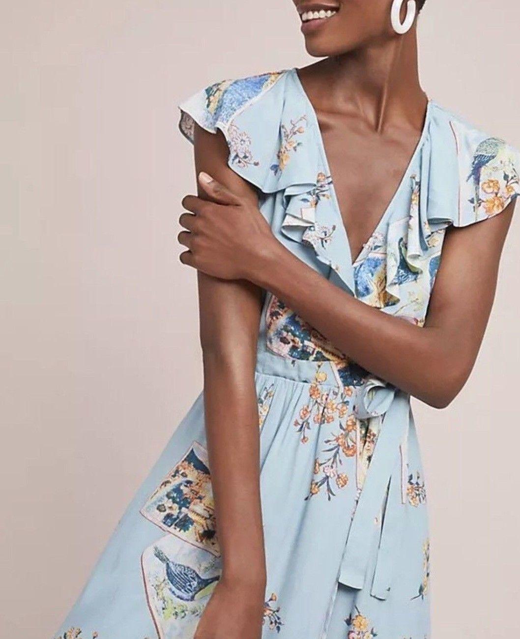 Anthropologie Rosalia Wrap Dress by Maeve $158 - NWT Blue