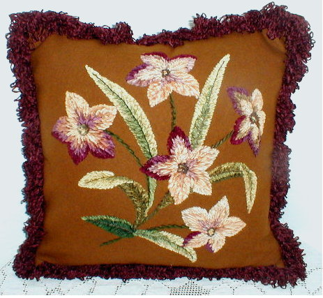 Victorian Chennile Embroidery Pillow