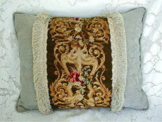 19th Century French Needlepoint Pillow