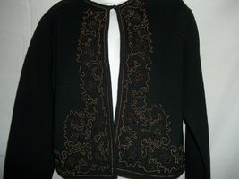 Ladies Size L Liz Claiborne Collection Black Beaded Classy Cardigan Sweater - $29.69