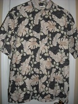 Mens Large Campia Button Front Hawaiian Shirt with Leaves Crisp Cotton - $14.84