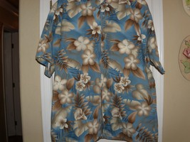 Mens Size Large Campia Moda Hawaiian Button Front Shirt - $15.83