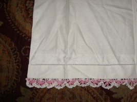 Beautiful Vintage Linen Hand towel with French Trim Lace White & Pink - $18.80