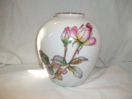 Noritake Black Stamp Floral Rose Vintage Vase Watercolor Look Roses - $34.64